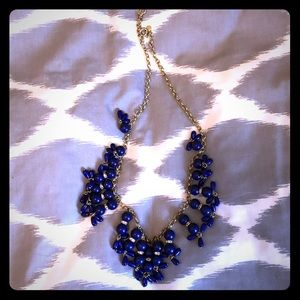 J Crew Royal Blue Beaded Statement Necklace